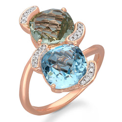 Rose Gold Green Amethyst, Blue topaz & Diamond Heirloom Ring