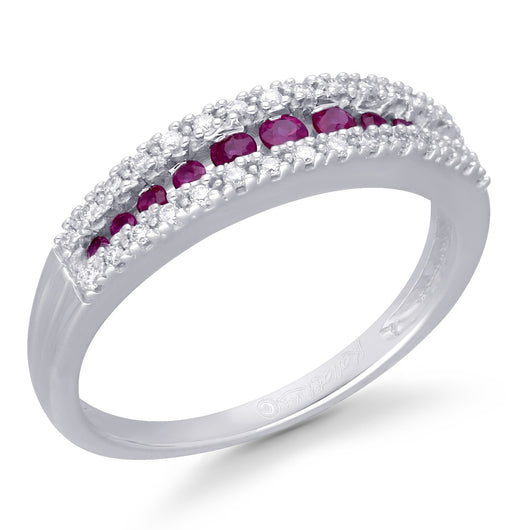 White Gold Ruby & White Diamond Infinite Ring
