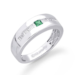 14K White Gold Diamond and Emerald Men's Ring