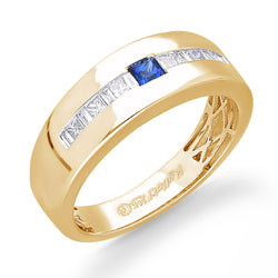 14K Yellow Gold Diamond and Sapphire Men's Ring