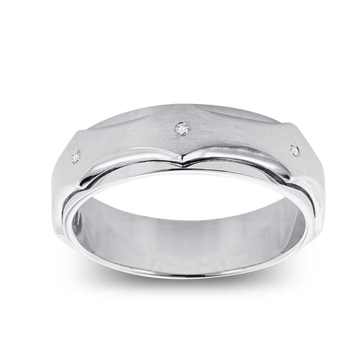 14K White Gold Diamond Men's Ring