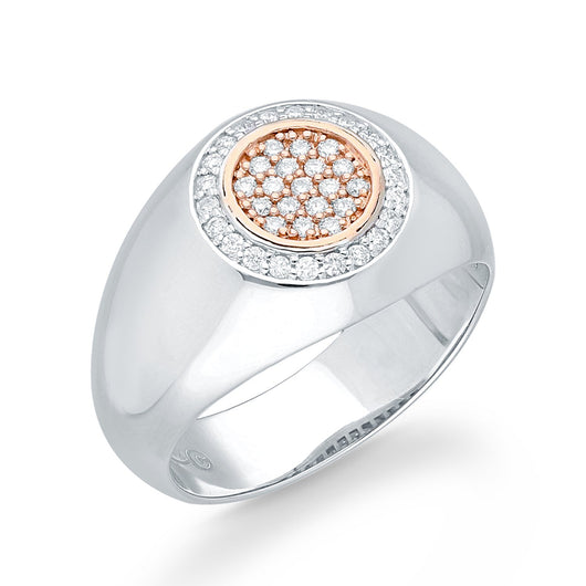 White and Rose Gold Diamond Men's Ring
