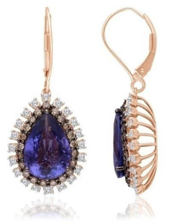 Rose Gold Coco, White diamond and Tanzanite Heirloom Earrings