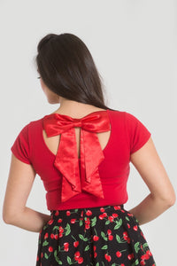 Red Bow Back Top