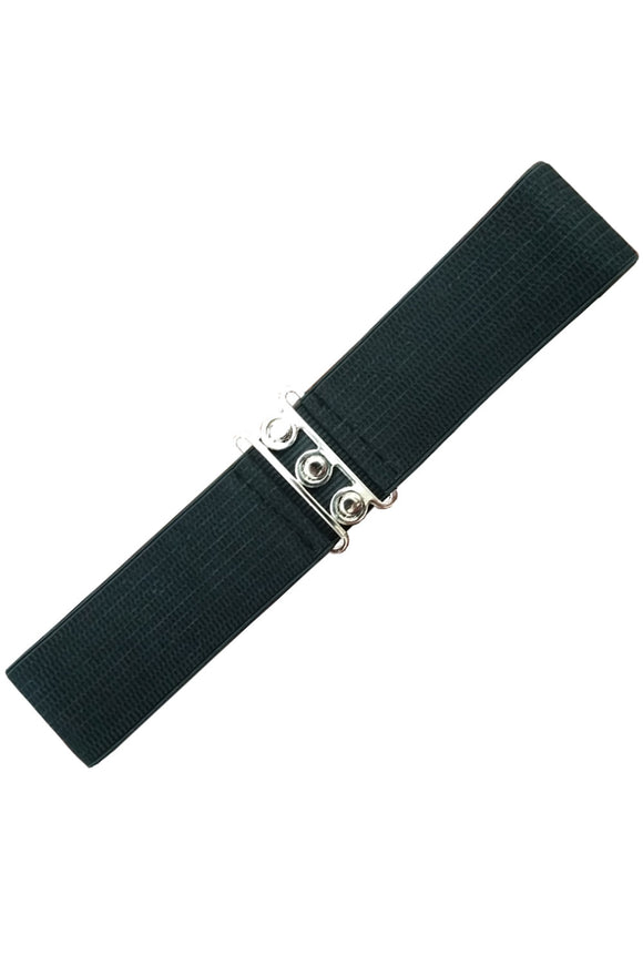 Black Stretch Belt With Buckle Closure