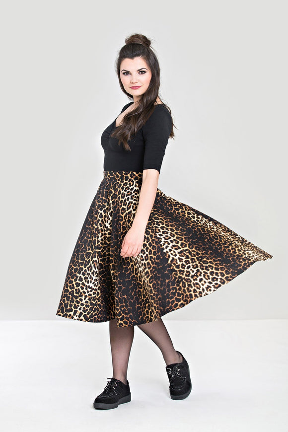 Leopard Print Swing Skirt