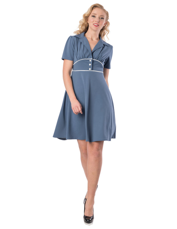 'Land Girl' Blue Forties Style Tea Dress