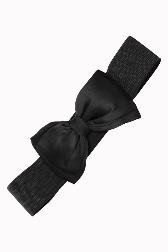 Black Stretch Belt with Bow Closure