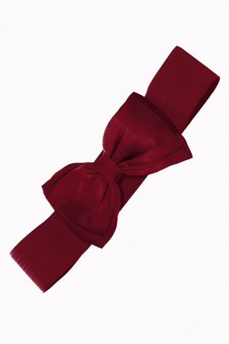 Burgundy Stretch Belt with Bow Closure