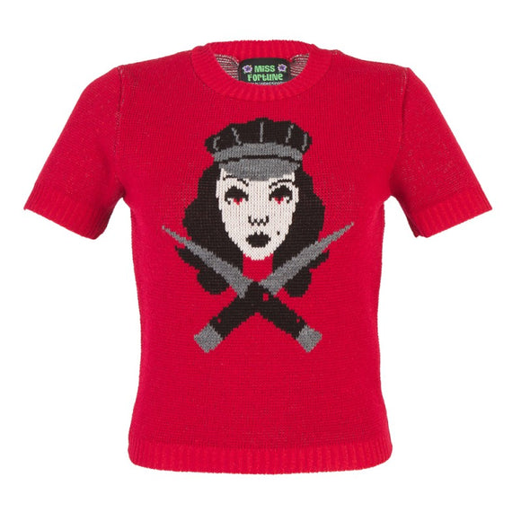 'Switchblade Babe' Red Jumper