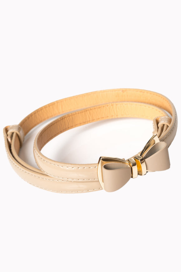Nude Belt with Gold Bow