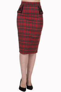 Red Tartan Pencil Skirt