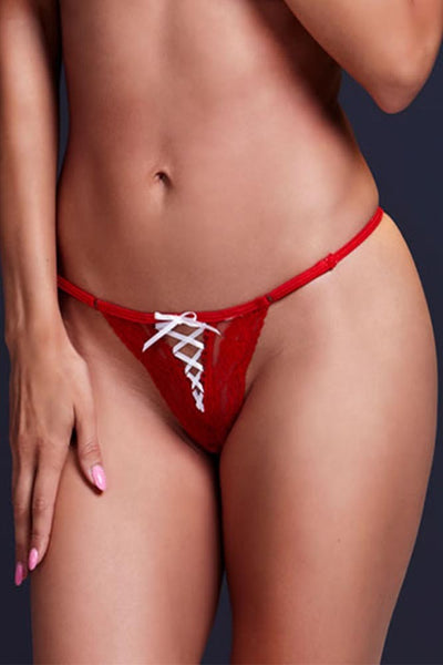 Red Criss Cross G-String with White Ribbon in M