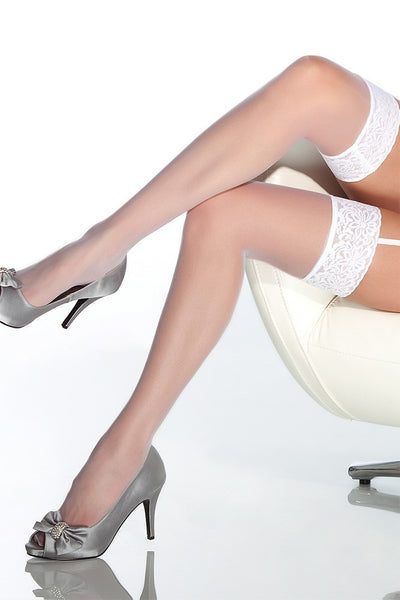 Sheer Lace-Topped White Thigh Highs in OS