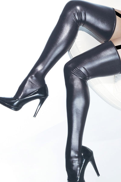 Wet Look Thigh High Stockings Black in OS