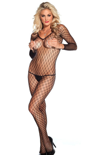 Fence Net Long Sleeved Black Bodystocking in OS