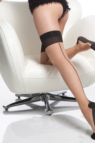 Nude Sheer Cuban Heel Thigh Highs in OS