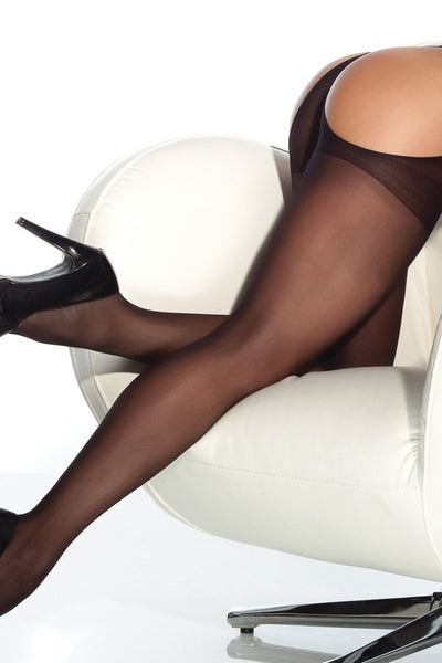 Sheer Black Thong Pantyhose in OS