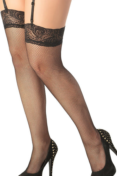 Lace Top Fishnet Thigh Highs Black in OSXL