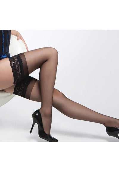 Sheer Thigh Highs with Silicone Grip Black in OSXL