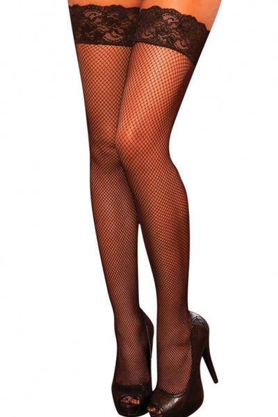 Fishnet Lace Up Corset Thigh Highs in OS