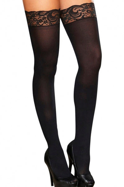 Lace Top Sheer Thigh Highs in OS