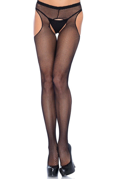 Black Fishnet Suspender Hose in OSXL