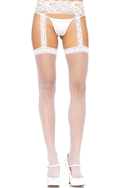 Sheer White Stockings with Attached Lace Garterbelt in OS
