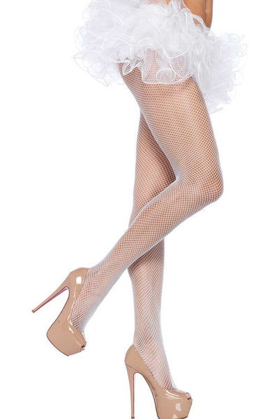 Bright White Fishnet Pantyhose in OS