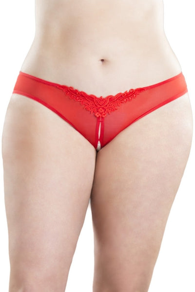 Red Crotchless Pearl Thong in 1X/2X