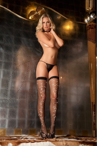 Sparkle Diamond Net Thigh Highs in OS