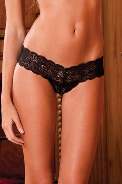 Crotchless Lace Thong with Lace-Up Back in S/M