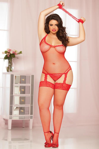 Red Fishnet and Lace Trim Cami Bodystocking in OSXL