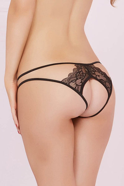 Classic Black Floral Lace Open Back Panty in S