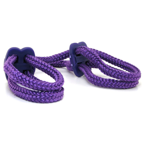 Japanese Silk Love Rope Wrist Cuffs in Purple