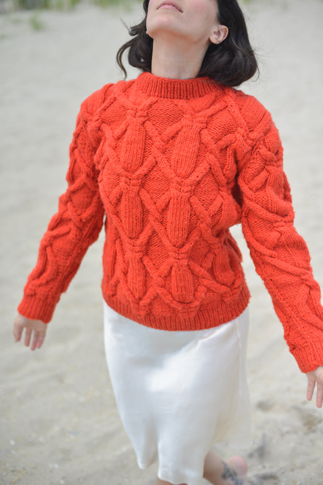 Red Orange Fisherman Cable Knit Wool Sweater Crew Neck