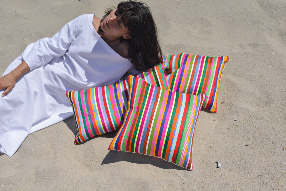 Color Therapy Multi-Colored Striped Statement Pillow Equality Love Bright