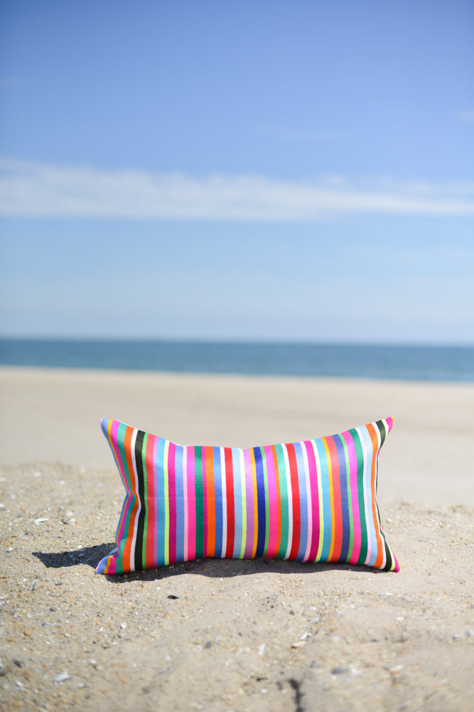 Oblong Indigenous Colorful Striped Pillow Cover
