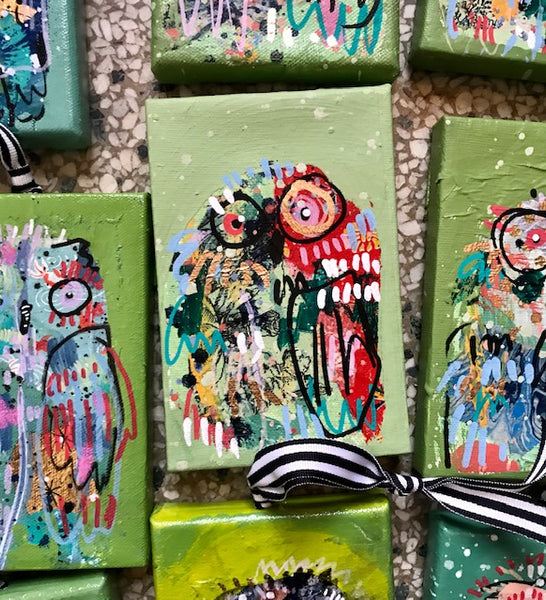 SALAD GREENS Owl Ornaments on Canvas
