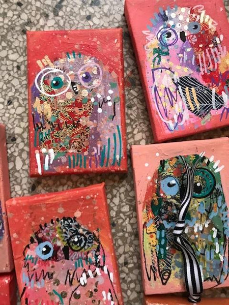 AUNT MIMI'S PUNCH Owl Ornaments on Canvas