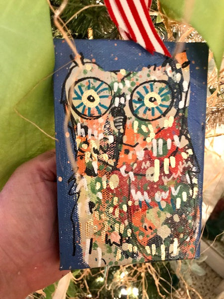 Owl Ornaments on Canvas, Readymade