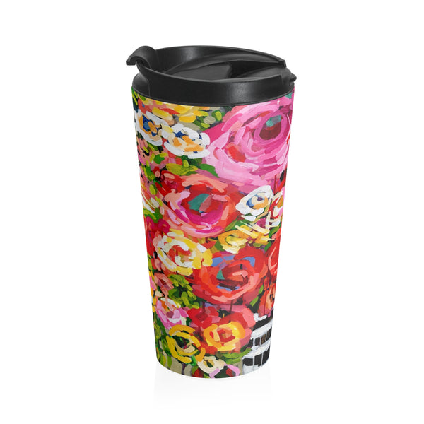 Pink Roses Stainless Steel Travel Mug