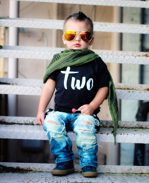 two birthday shirt toddler boy black shirt with white writing