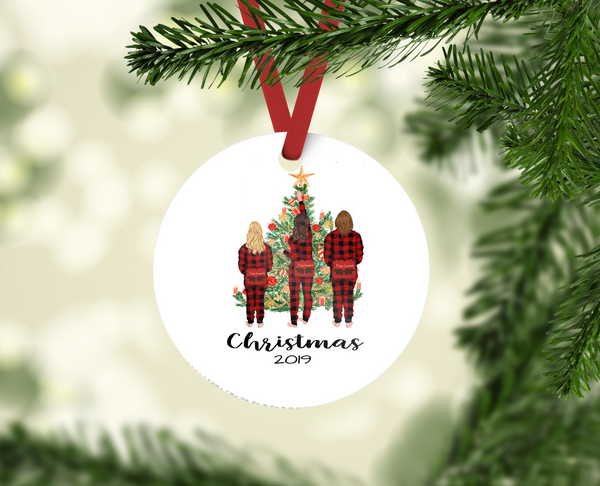 Family Xmas PJ Christmas Ornament - Personalized