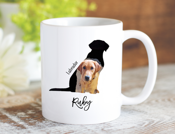 Personalized Real Image Dog Silhouette Mug - Dishwasher Safe