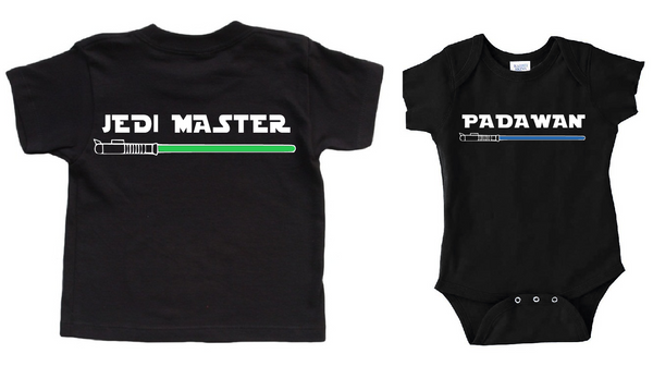 Star wars shirts, Black jedi master shirt with lightsaber and padawan shirt with lightsaber. Daddy and baby matching shirts