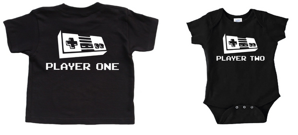 Black Men's T shirt with player one baby onesie with player two or toddler shirt. Video game baby clothes.