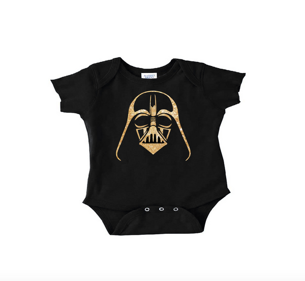 Star wars baby clothes, black and gold darth vader onesie or toddler t shirt