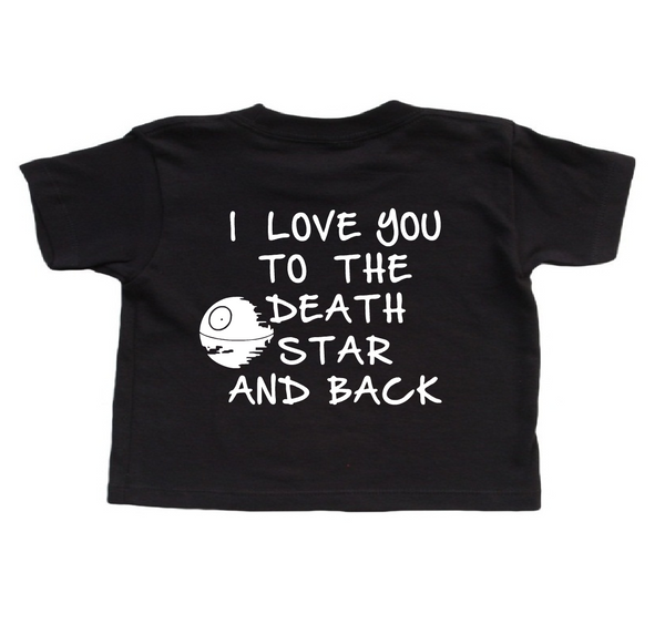 Star wars baby clothes, black death star shirt.