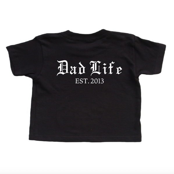 1e30d4b7 Black T shirt with Dad Life customized year. Father's Day Shirt. New Dad  Gift